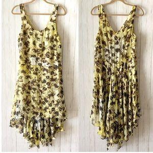 Anthro Leifsdottir Yellow Butterfly Silk Dress 6